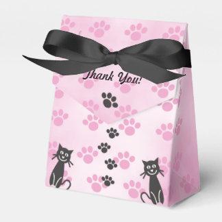 Impresiones de la pata del negro del rosa del gato cajas para regalos