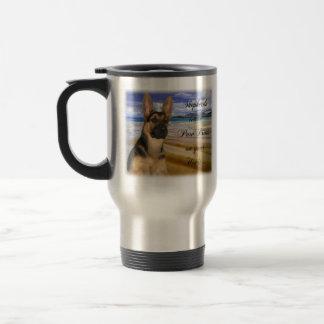 Impresiones de la pata del pastor alemán taza de viaje de acero inoxidable