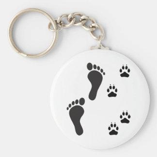 Impresiones de la pata del perro con la impresión  llavero