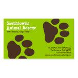 Impresiones de la pata del perro en el verde (pers tarjetas de visita