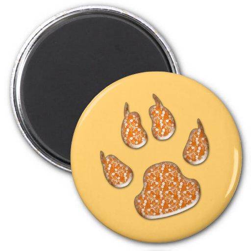 impresiones de la pata del perro - flores anaranja imán para frigorifico
