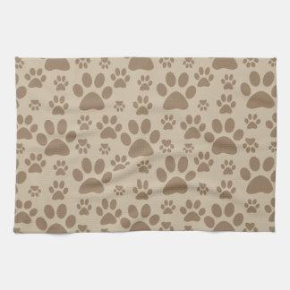 Impresiones de la pata del perro o del gato toallas