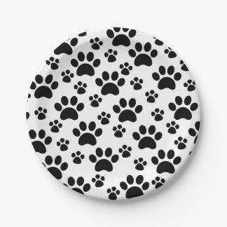 Impresiones de la pata del perro platos de papel