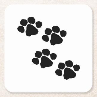 Impresiones de la pata para los amantes animales posavasos personalizable cuadrado