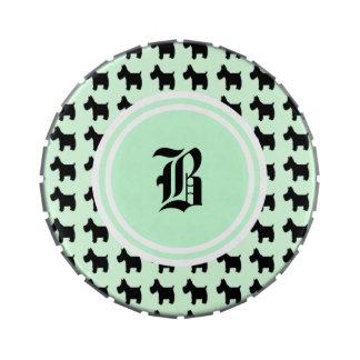 Impresiones de Terrier con el monograma del fondo  Latas De Dulces