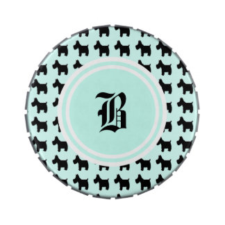 Impresiones de Terrier con el monograma del fondo  Latas De Caramelos