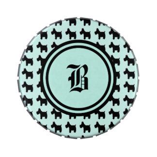 Impresiones de Terrier con el monograma del fondo  Frascos De Caramelos