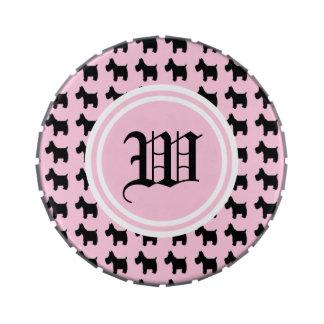 Impresiones de Terrier con el monograma rosado del Jarrones De Dulces