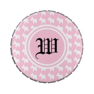Impresiones de Westie con el monograma rosado del  Latas De Dulces