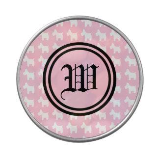 Impresiones de Westie con el monograma rosado del  Frascos De Caramelos