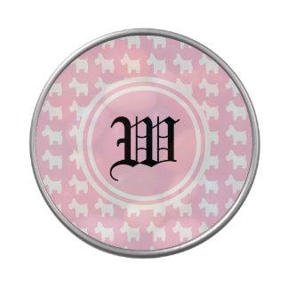 Impresiones de Westie con el monograma rosado del  Latas De Caramelos