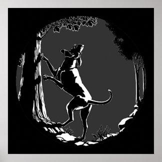 Impresiones del amante del perro de caza del poste