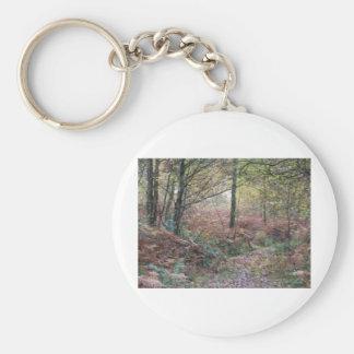 Impresiones del otoño llavero redondo tipo pin