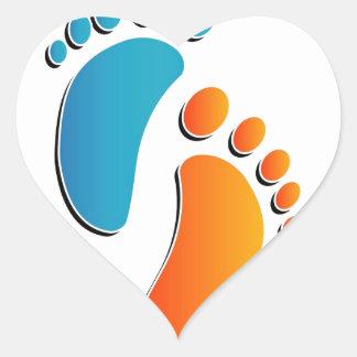 Impresiones del pie del bebé pegatina en forma de corazón