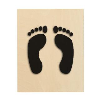 Impresiones del pie impresión en madera