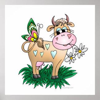 Impresiones lindas del poster de la vaca y de la m