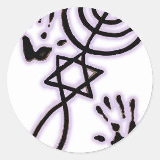 Impresiones mesiánicas etiqueta redonda