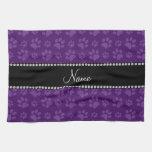 Impresiones púrpuras conocidas personalizadas de l toalla de mano