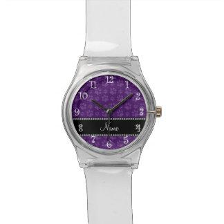 Impresiones púrpuras conocidas personalizadas de l relojes