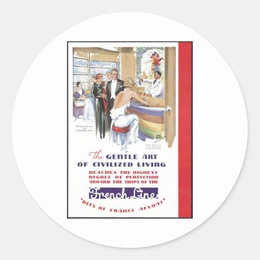 Impresiones retras del anuncio del poster del pegatina redonda