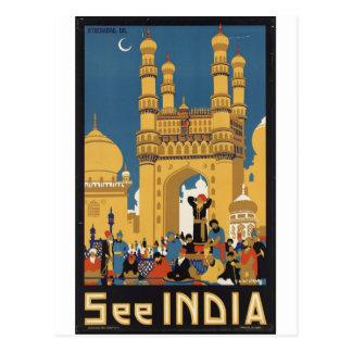 Impresiones retras del anuncio del poster del viaj tarjeta postal