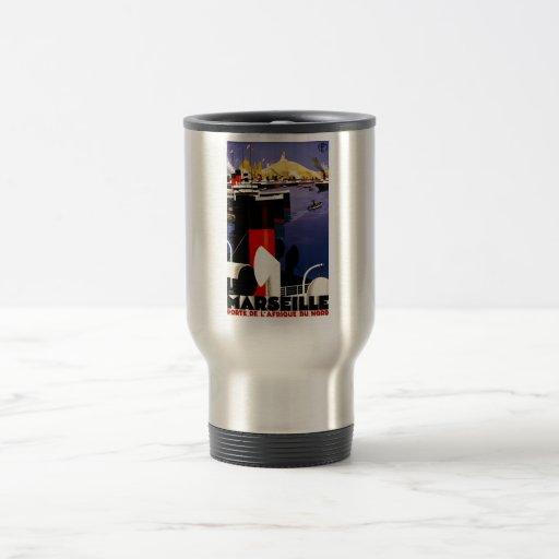 Impresiones retras del anuncio del poster del viaj tazas de café