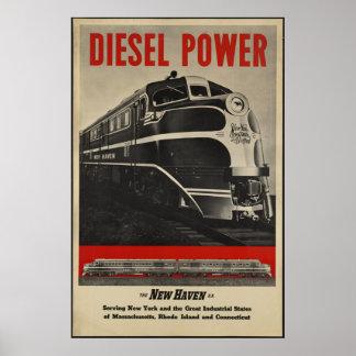Impresiones retras del tren del vintage del viaje