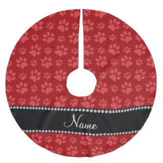 Impresiones rojas conocidas personalizadas de la falda para arbol de navidad de poliéster