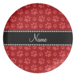 Impresiones rojas conocidas personalizadas de la p platos de comidas