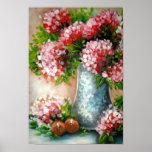 Impresiones rojas del arte de los Hydrangeas