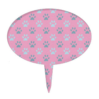 Impresiones rosadas y grises de la pata del perrit figura para tarta