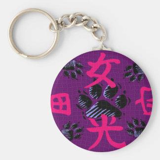 Impresiones rosadas y púrpuras de la pata llavero redondo tipo pin