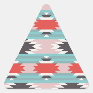 Impresiones tribales aztecas del nativo americano pegatina triangular