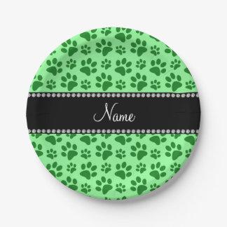 Impresiones verdes claras conocidas personalizadas platos de papel