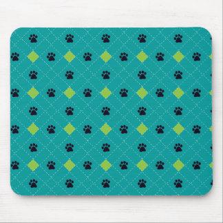 Impresiones verdes de la pata de Argyle Mouse Pad