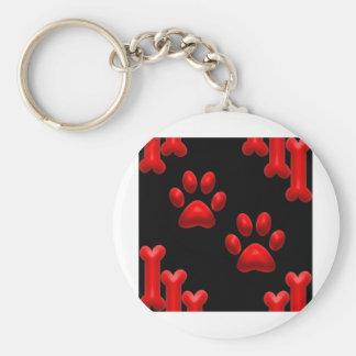 Impresiones y huesos del perro llavero redondo tipo pin