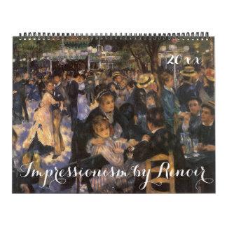 Impresionismo 2016 del vintage de Auguste Renoir Calendario De Pared