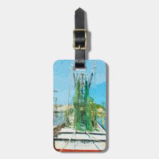 Impresionismo abstracto atracado barco del camarón etiqueta para equipaje