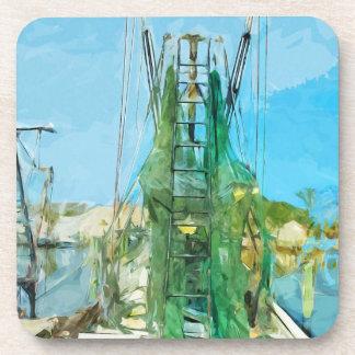 Impresionismo abstracto atracado barco del camarón posavaso