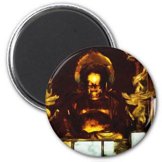 Impresionismo abstracto de oro de Buda Kyoto Japón Imán Redondo 5 Cm