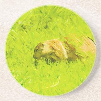Impresionismo abstracto del perro de las praderas posavasos cerveza