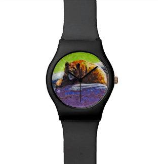 Impresionismo americano del extracto del oso negro reloj de mano