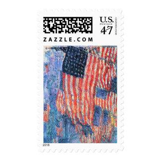 Impresionismo del vintage, avenida en la lluvia, timbre postal