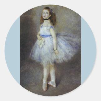 Impresionismo del vintage, bailarín de ballet por pegatina redonda