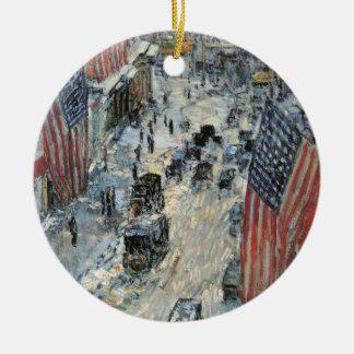 Impresionismo del vintage, banderas en la 57.a adorno redondo de cerámica