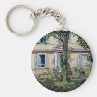 Impresionismo del vintage, casa en Rueil por Manet Llavero Redondo Tipo Pin