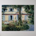 Impresionismo del vintage, casa en Rueil por Manet Póster