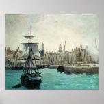 Impresionismo del vintage, puerto en Calais por Póster