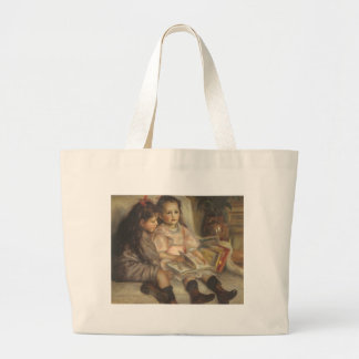 Impresionismo del vintage, retrato de los niños bolsa tela grande