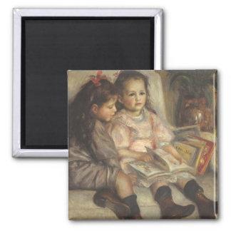 Impresionismo del vintage, retrato de los niños imán cuadrado